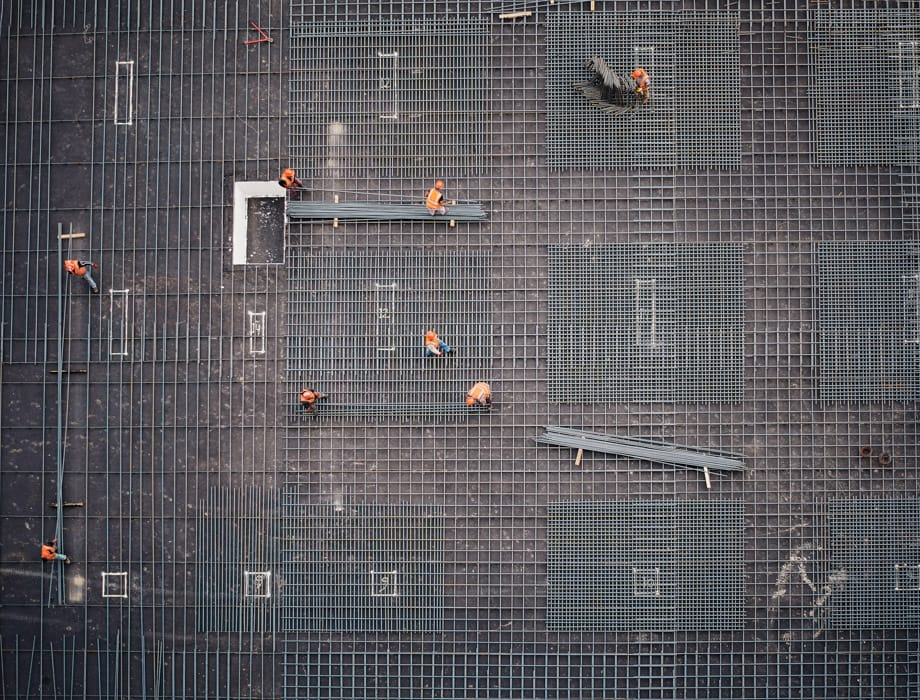 Aerial of a construction site