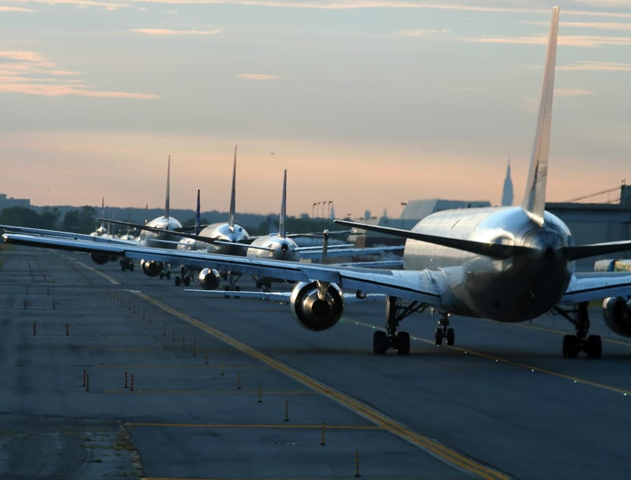 Planes ready for take off at airport